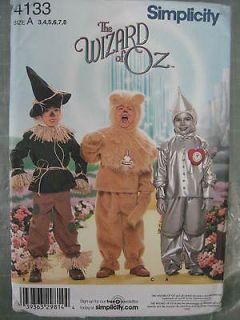 KIDS WIZARD OZ SCARECROW TINMAN LION DANCE COSTUME PATTERN 4133