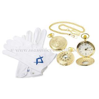 Masonic Quartz Half Hunter Pocket Watch & Pair of Masonic 100% Cotton