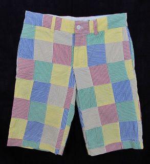 RARE Polo Ralph Lauren Sport Seersucker Madras Plaid Patchwork Shorts