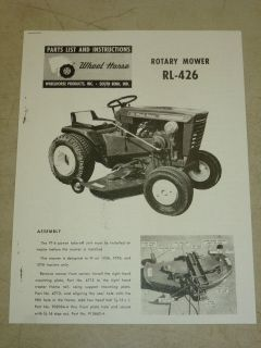 1965 WHEEL HORSE TRACTOR RL 426 ROTARY MOWER PARTS LIST MANUAL