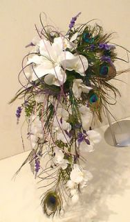 , BRIDE PEACOCK FEATHER ORCHID & LILY WHITE PURPLE SHOWER BOUQUET