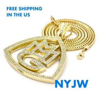 MMG MUSIC GROUP RICK ROSS WALE MEEK MILL PENDANT W/ 36 CHAIN #KC3473G