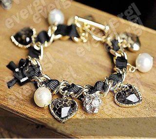 Retro Peach Heart Leopard Bowknot Rhinestone Crystal Pearl Bracelet