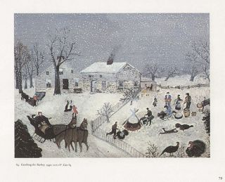 GRANDMA MOSES print winter scene Thanksgiving CATCHING THE TURKEY