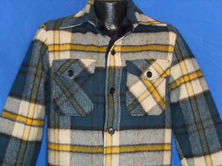 vintage 80S WOOLRICH BLUE YELLOW PLAID WOOL FAUX FUR HUNTING MENS