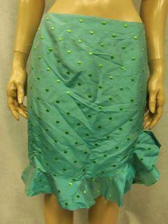 CK BRADLEY New York Blue/Green Polka Dot Shantung Silk Ruffled Skirt