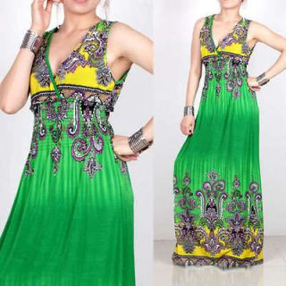 Summer Green Women Sexy Long Maxi Dress Beach Dress Size XL US14 16