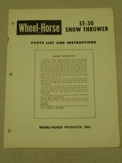 wheel horse tractor st 30 snow thrower parts list manual
