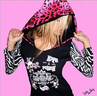 DEMI LOON DIY Sexy Punk rockabilly Goth Skull Leopard Hoodie Tee Top S