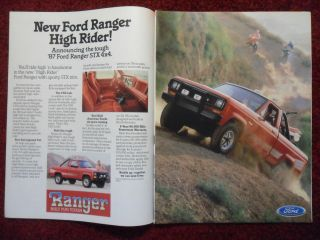 1987 Print Ad Ford Ranger STX 4x4 Truck Automobile ~ Build Fun