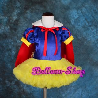 Girl Snow White Dance Costume Fancy Dress + Cape Party Birthday Size