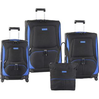 nautica downhaul spinner black blue 4 piece luggage set $