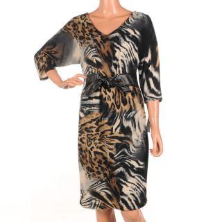 857 FRANK LYMAN Black & Brown Animal Print Dress Size UK 8 RRP £275