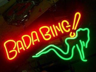 bada bing girl logo beer bar pub neon light sign