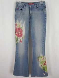 miss sixty light denim floral pattern jeans pants 25