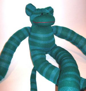 noel the sock monkey large handmade teal blue sparkle time