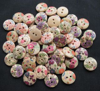 Newly listed 50x print flower Wood Button sewing appliques craft DIY