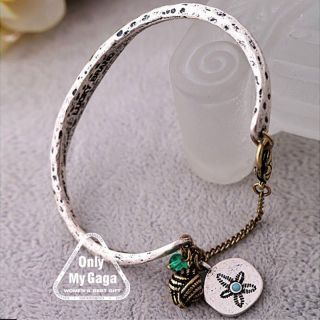 silver tone lucky brand flower bracelet from china  4 65