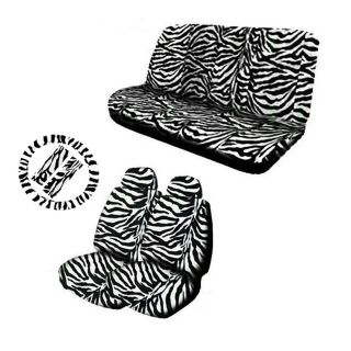 11pc Zebra White Black Animal Print Complete Car Seat Cover Set Free