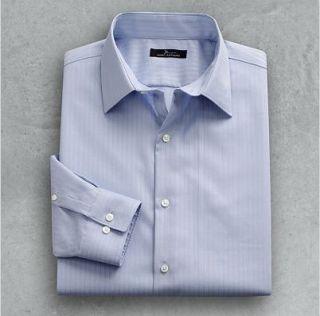New Marc Anthony Blue Slim Fit Wrinkle Resistant Stipe Cotton Dress