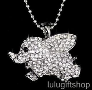 WHITE GOLD PLATED DISNEY DUMBO ELEPHANT PENDANT NECKLACE USE SWAROVSKI