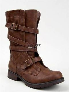 ADORABLE MID CALF RASZCAL MADDEN GIRL BROWN STRAPPY BOOTS 6 6.5 7 7.5