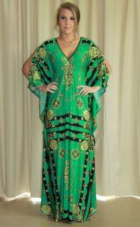 New Donatella Emerald Green Maxi Dress, Long Kaftan Formal Size 8 26