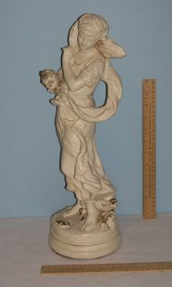 HIP MOREAU Statue by ALEXANDER BACKER CO Chalkware   Girl holding
