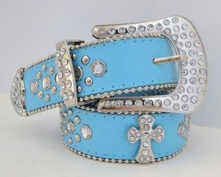 NEW COWGIRL WESTERN BUCKLE RHINESTONE CROSS LEATHER LIGHT AQUA BLUE