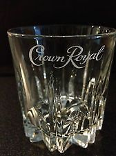 Crown Royal Low Ball Whiskey Glasses w/Etched Logo set of two