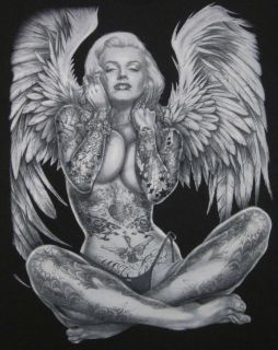 Marilyn Monroe for Men. Angel wings Tattoo graphics. Made in USA. Med