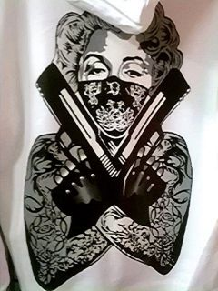 MARILYN MONROE TATTOO SLEEVED BANDIT WOMENS HOODIE FOR HARLEY