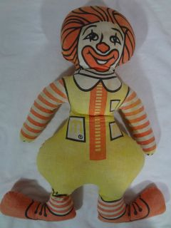 ronald mcdonald cloth rag doll 16 stuffed toy vintage time