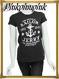 Sailor Jerry Tattoo Logo My Work Speaks Womens Tee Shirt Black Anchor