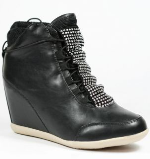 HIGH TOP FASHION SNEAKERS WEDGE ANKLE BOOT BOOTIE LILIANA BLACK BLUE