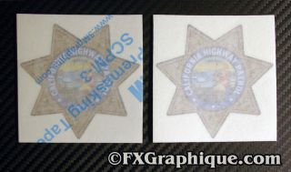 HIGHWAY PATROL MOTORCYCLE TANK STAR ONE PAIR   2x DECALS 5 x 5
