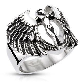 Stainless Steel Archangel Goddess Angel Wings Cast Ring Band Size 9 13