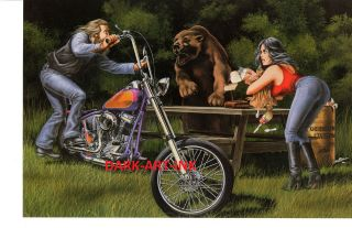 David Mann Art The Picnic Print Easyriders Harley Davidson Forest Bear