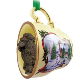 Poodle Dog Christmas Holiday Teacup Ornament Figurine Chocolate