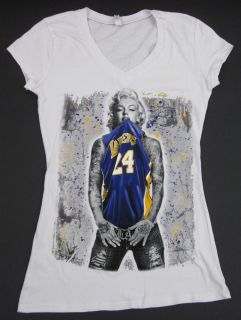MARILYN MONROE V Neck T shirt LA LAKERS Kobe Tattoo Graffiti Art S XL