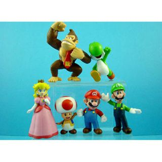 Set of 6 pcs Super Mario Bros Luigi Toad Yoshi 1.5   2.5 Figures Toy