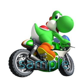 SUPER MARIO BRO YOSHI MOTOCYCLE IRON ON TRANSFER FOR LIGHT OR DARK