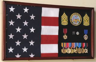 military medal flag display case cabinet shadow box solid
