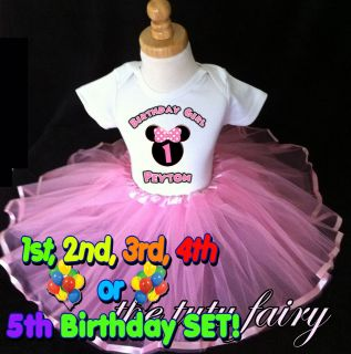 Minnie Mouse Ears birthday shirt & light pink tutu set outfit 1st 2nd