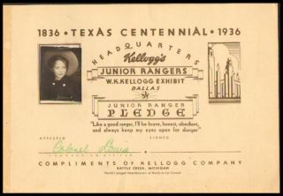 Kellogg's JUNIOR RANGERS Certificate, Texas Centennial 1936