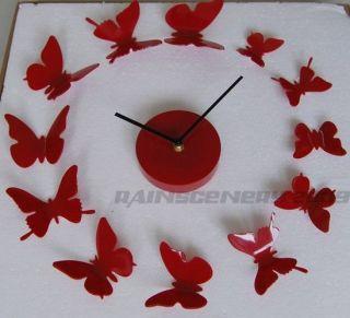Art Modern Design DIY 12 Butterfly Time Wall Clock Home Decor Stickers