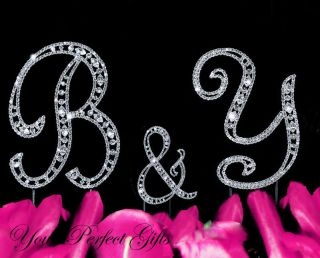 Wedding Cake Topper Monogram Initial Letter Silver 3pcs CT065