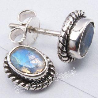 925 Silver FIERY MOONSTONE Oxidized Tribal Indian Jewelry Studs