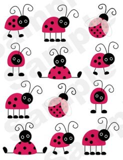 48 LADYBUGS PINK RED BLACK NURSERY BABY GIRL KIDS WALL ART STICKER