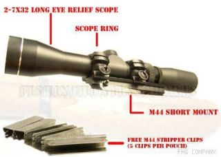 mosin nagant m44 2 7x32 scout scope mount ring combo